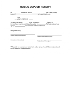 non refundable deposit receipt template non refundable rental deposit form template excel