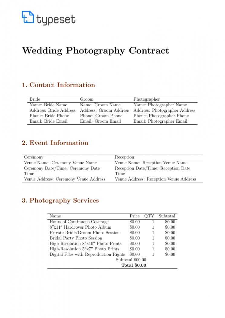 printable contracts  wedding photography contract template template photography deposit contract template