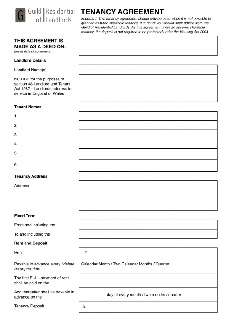 printable contractual commonlaw tenancy agreement  grl landlord no deposit tenancy agreement template example