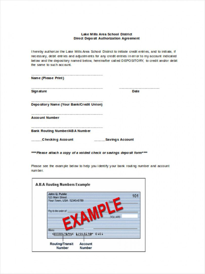 printable free 21 deposit forms  doc direct deposit agreement form template example
