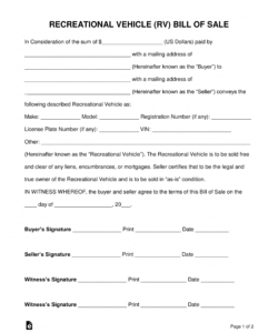 printable free recreational vehicle rv bill of sale form  word deposit form for vehicle purchase sample