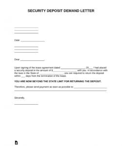 printable free security deposit demand letter template  pdf  word security deposit refund letter template doc