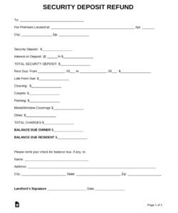 printable free security deposit return letter  pdf  word  eforms rental security deposit refund form word