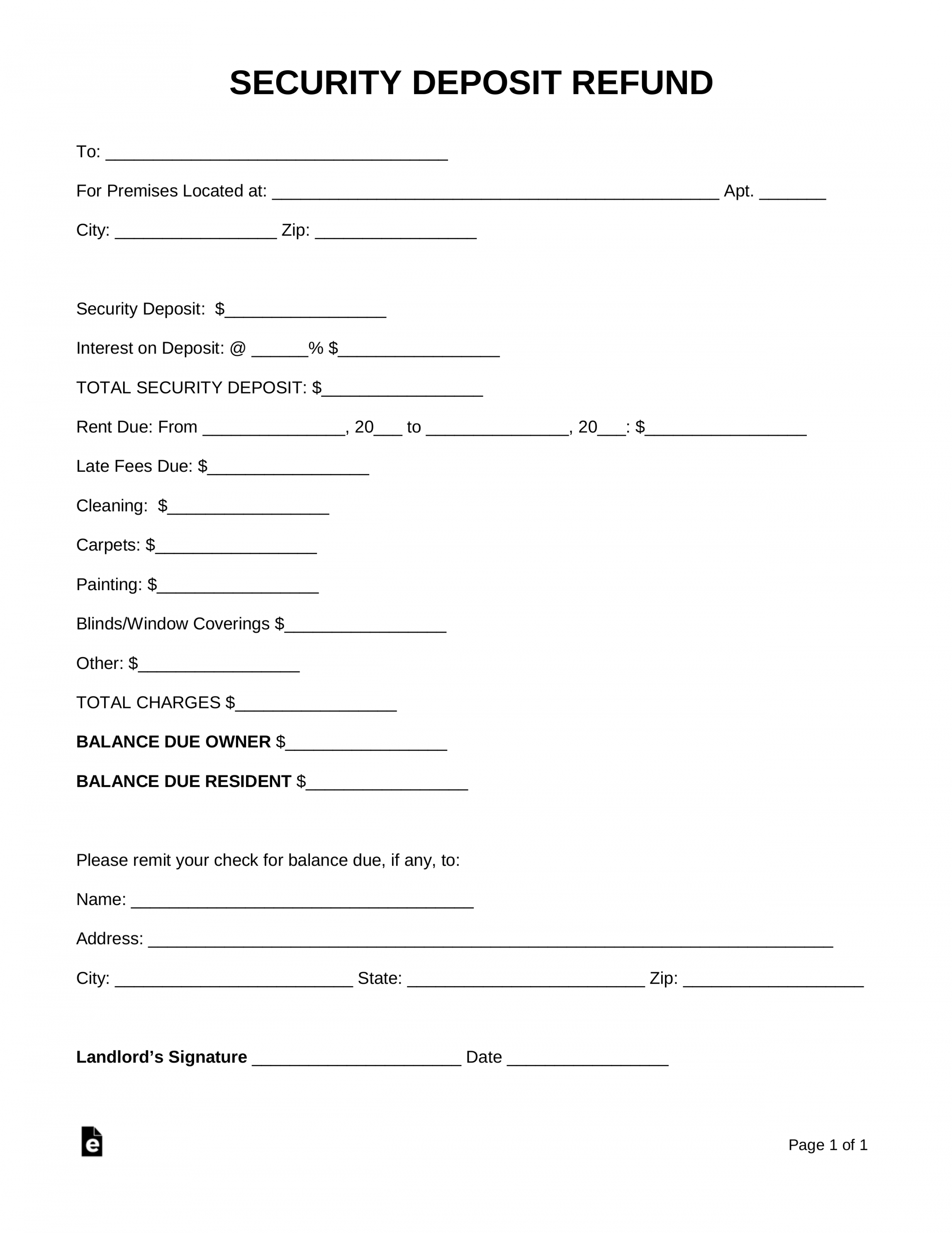 printable free security deposit return letter  pdf  word  eforms rental security deposit refund form word