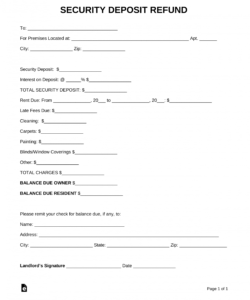 printable free security deposit return letter  pdf  word  eforms security deposit return form template doc