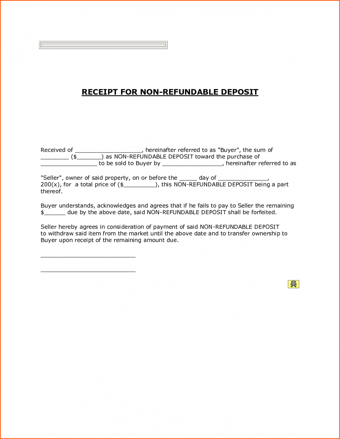 printable non refundable down payment receipt with blank form fields non refundable rental deposit form template sample