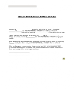 printable non refundable down payment receipt with blank form fields refundable deposit agreement template excel