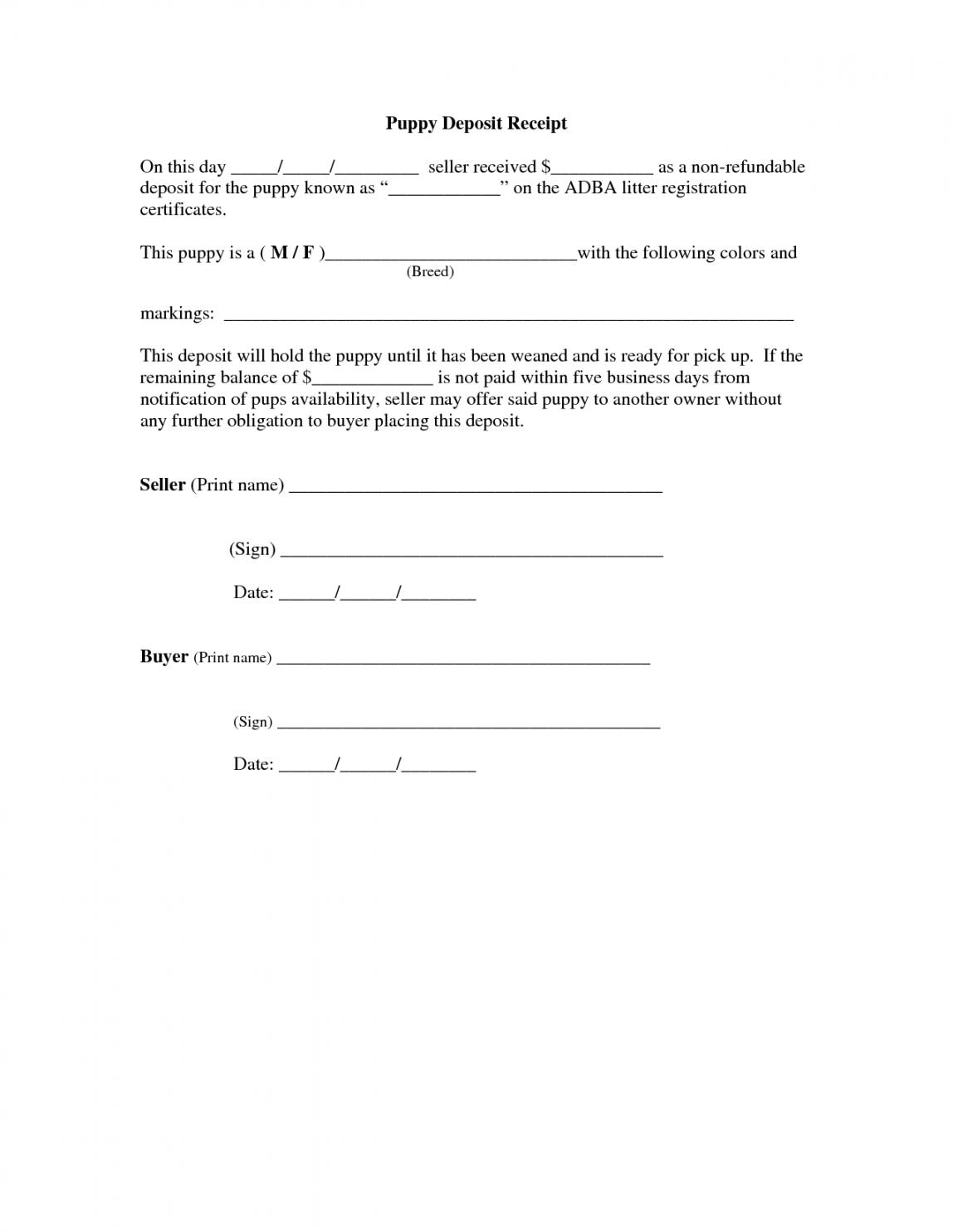 printable of car deposit agreement template  car sale deposit receipt puppy deposit contract template doc