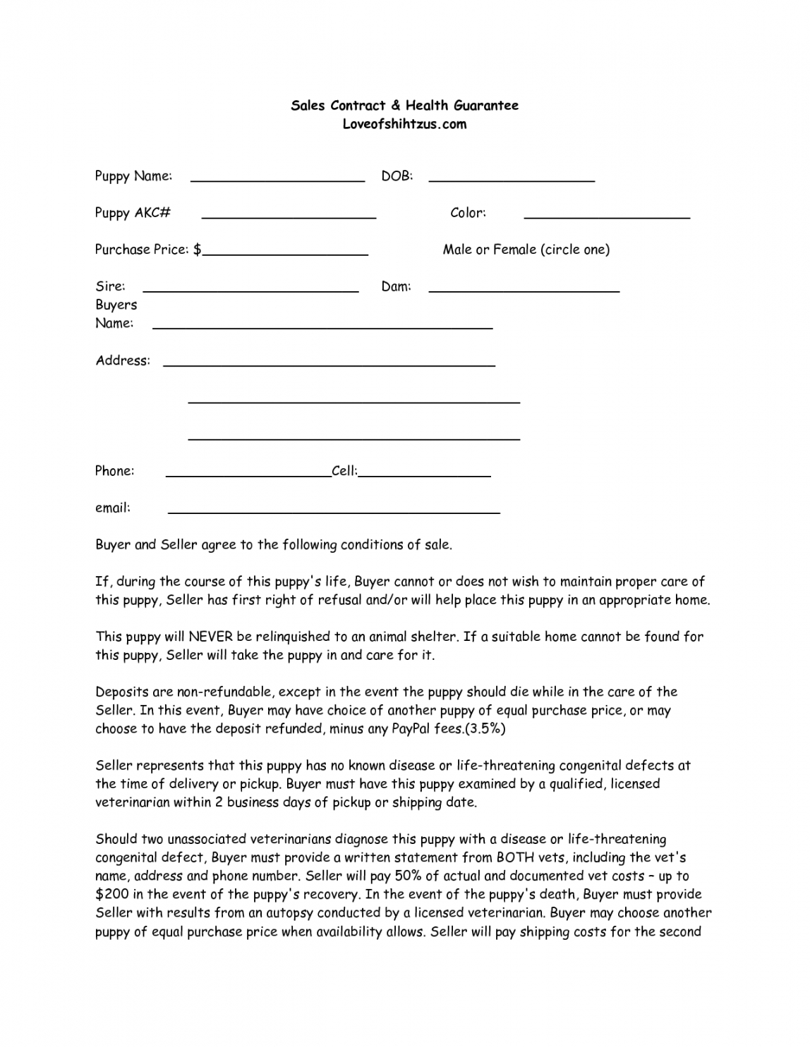 printable puppy sale contract template success  disfrazes para perros puppy deposit contract template pdf