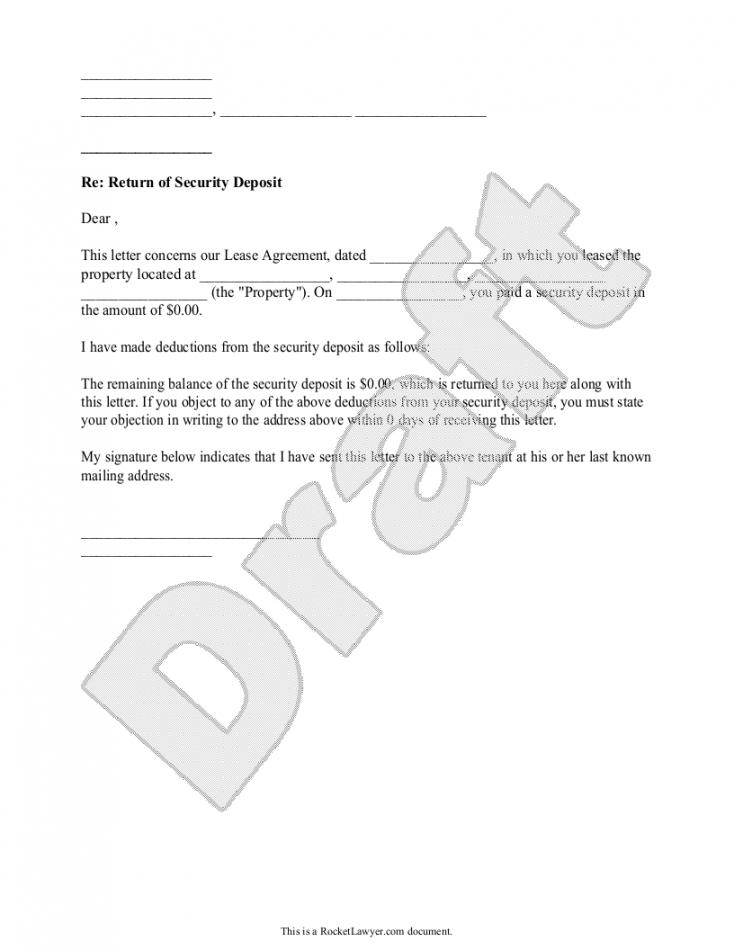 printable sample security deposit return letter form template in 2019 security deposit return letter template word