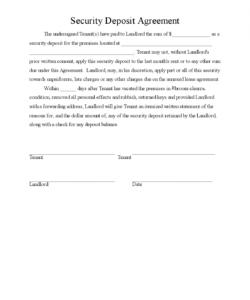 printable security deposit agreement 3 template 2015 deposit release form template