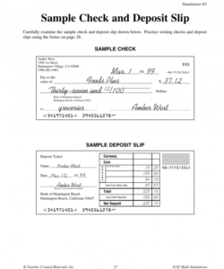 sample check and deposit slip deposit slip form template word