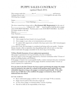 sample puppy sales contract puppy deposit contract template