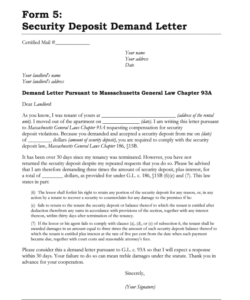 sample security deposit letter  fill online printable fillable request for return of security deposit form sample