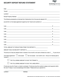 security deposit refund letter  fill online printable landlord security deposit return form example