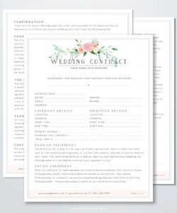 wedding photography contract template  photography business photography deposit contract template sample