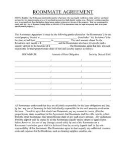 40 free roommate agreement templates & forms word pdf security deposit agreement between roommates excel