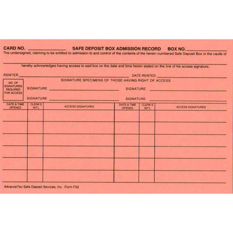 editable f07b safe deposit box admission record  $5000  advancetec safe deposit box inventory template excel