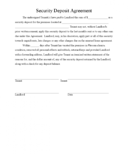 editable printable security deposit agreement 3 template 2015 security deposit agreement letter sample