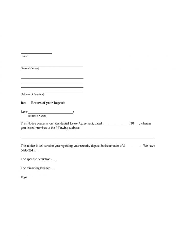 editable request letter for refund of security deposit from landlord landlord letter to tenant regarding security deposit return sample