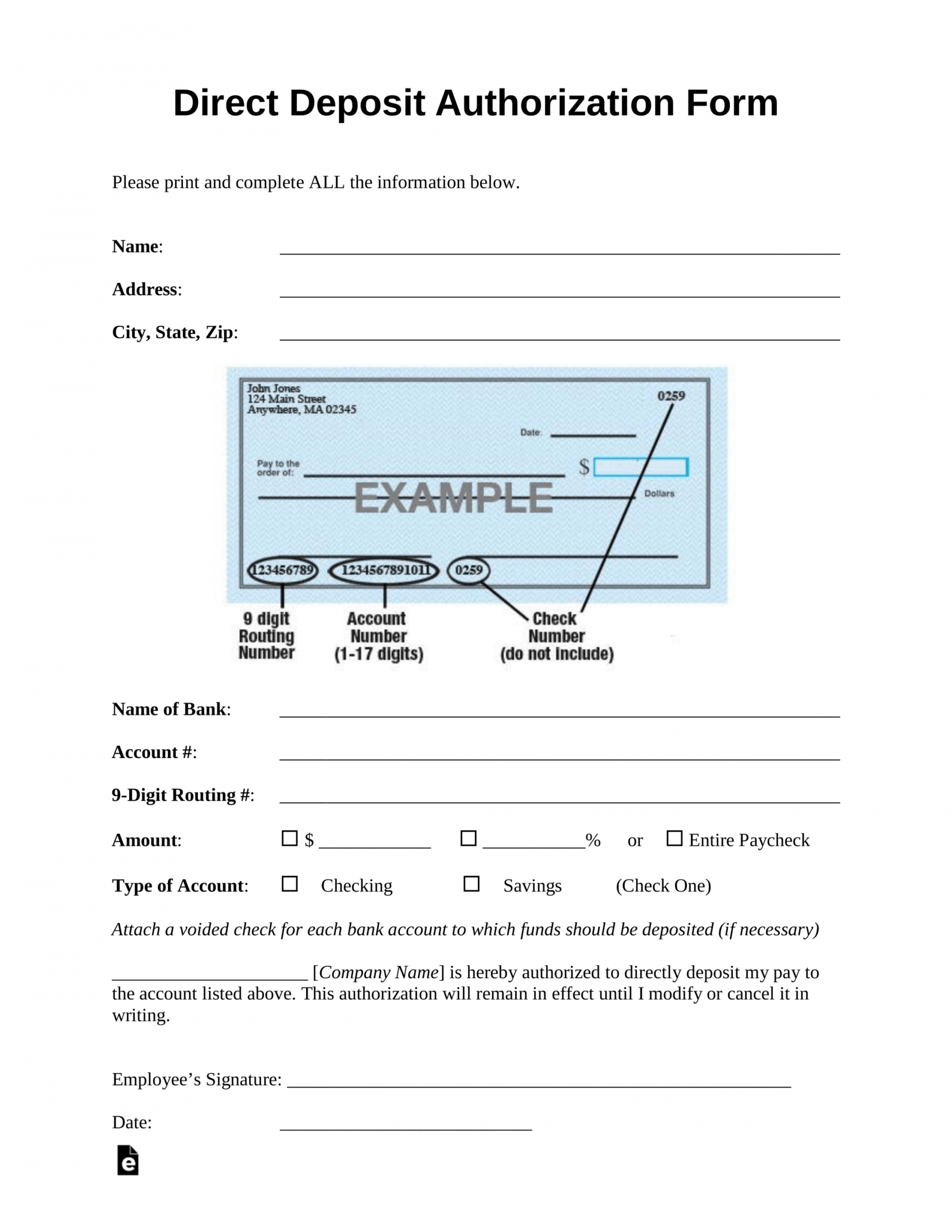 free 001 generic direct deposit authorization form template ach deposit authorization form template excel