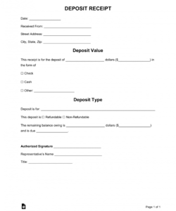 free free deposit receipt templates  word  pdf  eforms  free non refundable deposit form template example