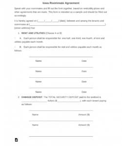 free iowa roommate room rental agreement form  pdf  word security deposit agreement between roommates