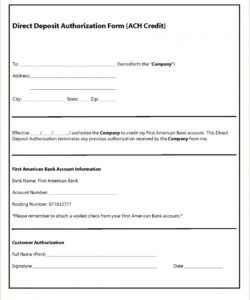 free payroll direct deposit authorization form template direct deposit authorization form template