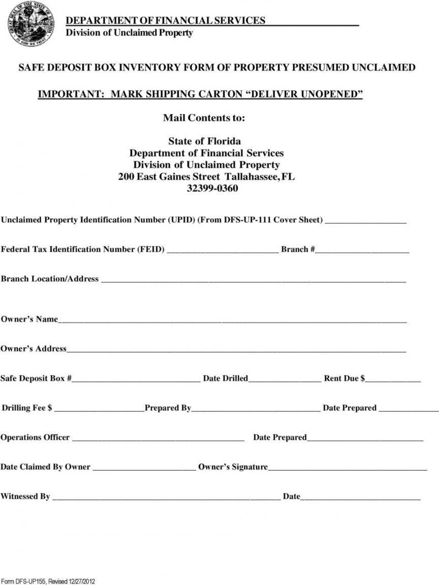 free safe deposit box inventory form of property presumed safe deposit box rental agreement pdf