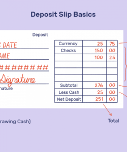 how to fill out a deposit slip checking deposit slip template example