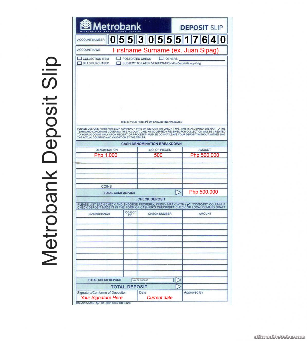 metrobank deposit slip sample copy  banking 30652 cash deposit slip template doc