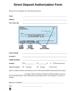 printable 001 generic direct deposit authorization form template direct deposit authorization form template word