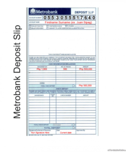 printable 007 metrobank deposit slip 2 template word singular ideas checking deposit slip template excel