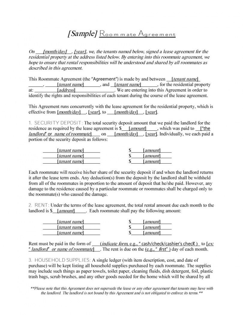 printable 40 free roommate agreement templates & forms word pdf security deposit agreement between roommates sample