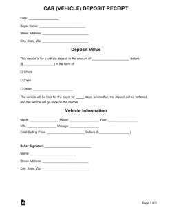printable free car vehicle purchase deposit receipt template  word vehicle deposit agreement form pdf