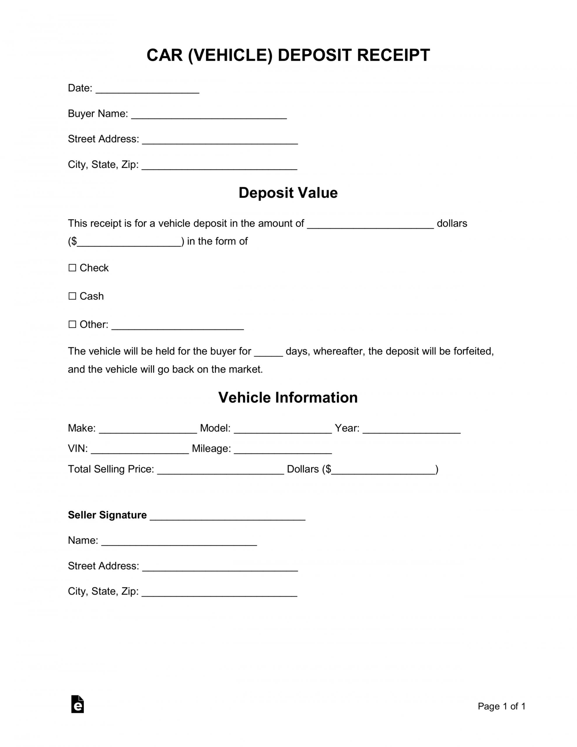 printable free car vehicle purchase deposit receipt template  word vehicle deposit agreement form pdf