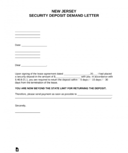 printable free new jersey security deposit demand letter  pdf  word demand letter for return of security deposit doc