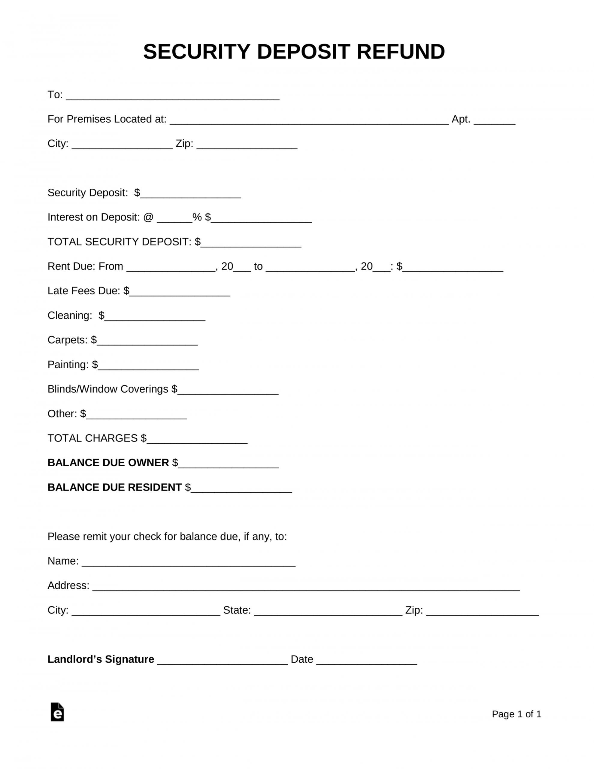 printable free security deposit return letter  pdf  word  eforms rental deposit refund letter sample doc