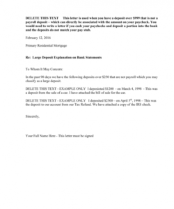 printable large deposit explanation letter letter of explanation for mortgage large deposit pdf