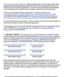 printable pennsylvania roommate agreement template  pdf  word security deposit agreement between roommates doc