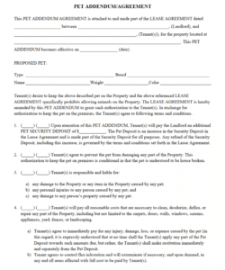 printable pet addendumagreement pdf  being a landlord rental apartment rental deposit agreement pdf