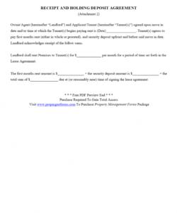 printable receipt and holding deposit agreement pdf  rental agreement security deposit agreement letter sample