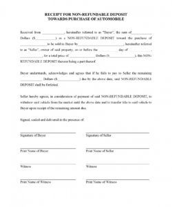 printable receipt for deposit on purchase of vehicle  legal forms and vehicle deposit agreement form