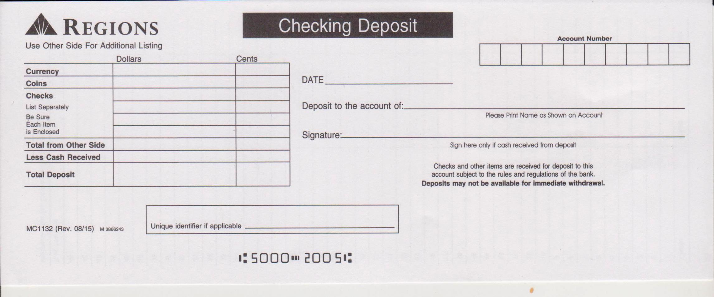 printable regions bank deposit slip  free printable template regions bank deposit slip template doc