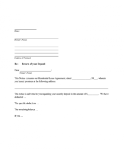 printable request letter for refund of security deposit from landlord return of security deposit form letter doc