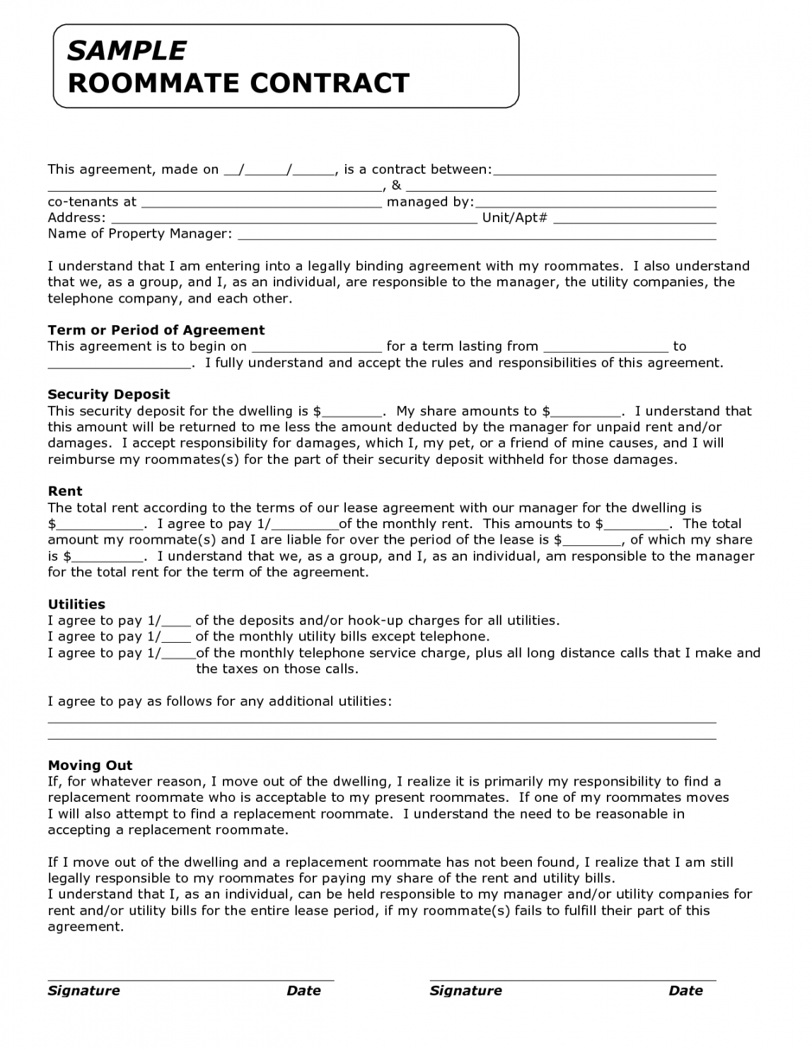 printable template for roommate rules  invitation templates security deposit agreement between roommates doc