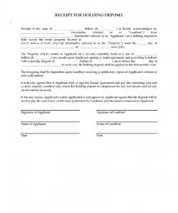 receipt for holding deposit on rental property  legal forms proof of deposit template pdf