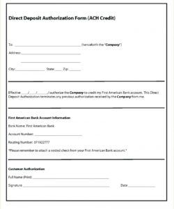 sample 008 adp employee direct deposit form authorization template ach deposit authorization form template word