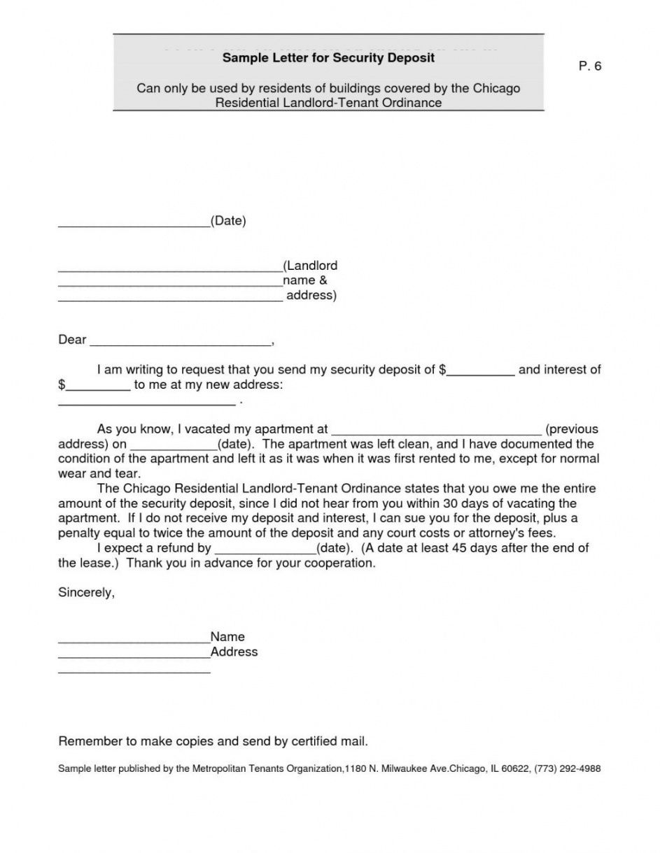sample 010 security deposit return letter receipt template dreaded letter to landlord for security deposit return doc