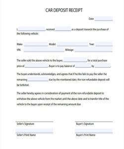 sample 046 security deposit receipt example vehicle agreement form vehicle deposit agreement form